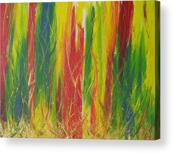 Rainforest Acrylic Print featuring the painting Rainforest by Jolene Courtemanche
