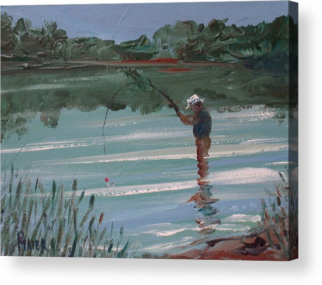 Fishin Acrylic Print featuring the painting Red Bobber by Pete Maier