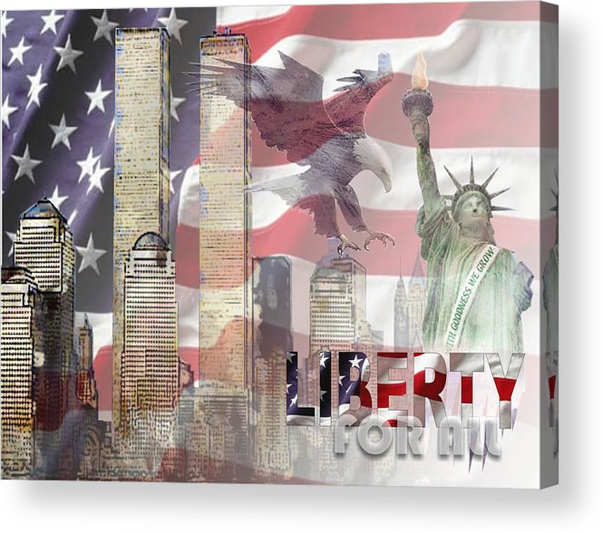 9/11 Acrylic Print featuring the digital art Remembering 9-ll by Arline Wagner