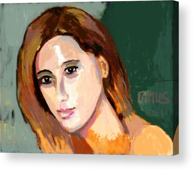 Art Acrylic Print featuring the painting Retrato Patricia by Carlos Camus
