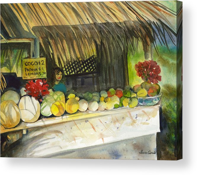 Roadside Stand Selling Tropical Fruits Acrylic Print featuring the painting Roadside Fruit Stand by Ileana Carreno
