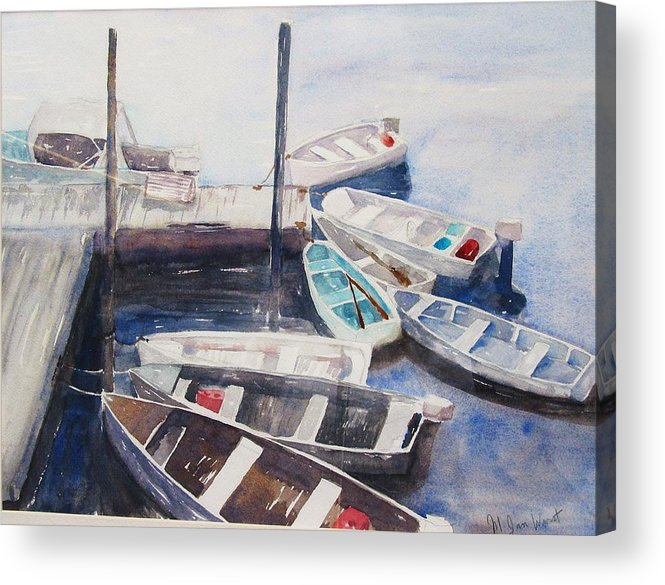 Boats Acrylic Print featuring the painting Rowboats by M Jan Wurst