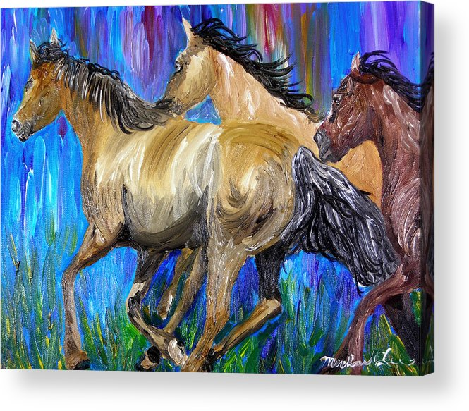 Horses Acrylic Print featuring the painting Running Colors by Michael Lee