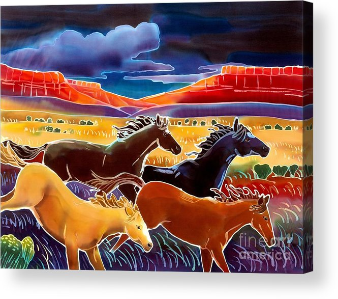 Horses Acrylic Print featuring the painting Running The Open Range by Harriet Peck Taylor