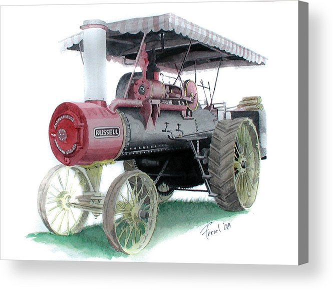 Tractor Acrylic Print featuring the painting Russell Steam Tractor by Ferrel Cordle