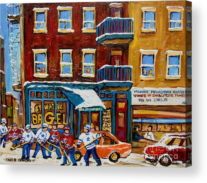 Montreal Acrylic Print featuring the painting Saint Viateur Bagel With Hockey by Carole Spandau