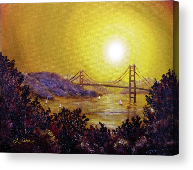 San Francisco Acrylic Print featuring the painting San Francisco Bay In Golden Glow by Laura Iverson