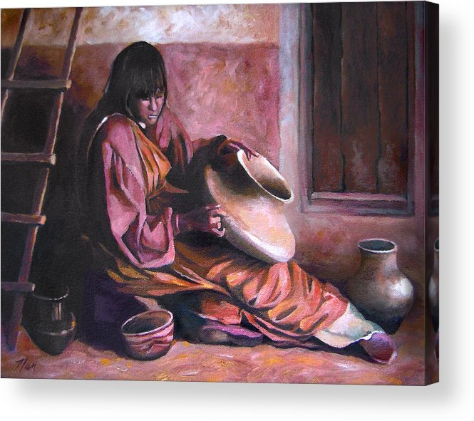 Native American Acrylic Print featuring the painting Santa Clara Potter by Nancy Griswold