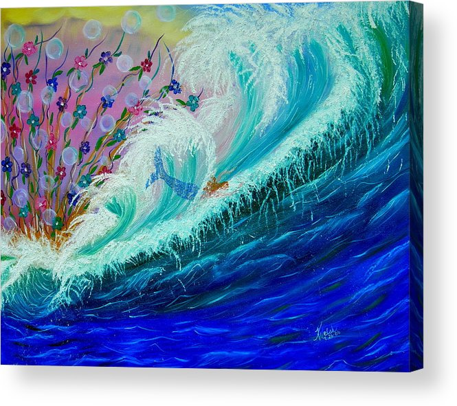 Ocean Acrylic Print featuring the painting Sea Fantasy by Kathern Welsh