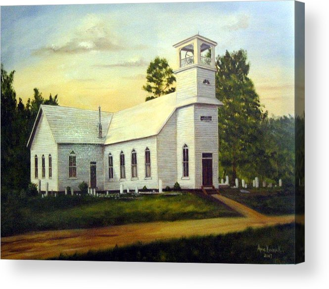 Church Acrylic Print featuring the painting Seaford Zion Methodist Church by Anne Kushnick
