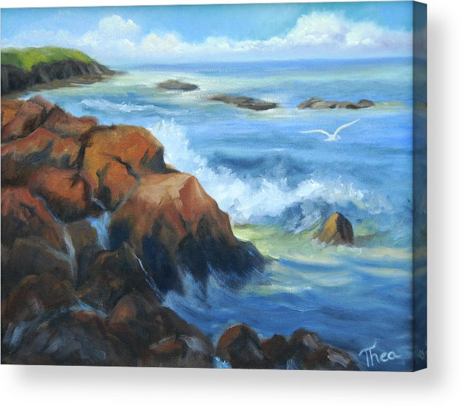 Water. Ocean Acrylic Print featuring the painting Seascape by Thea Wolff