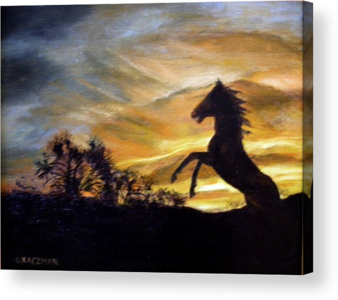 Sunset Acrylic Print featuring the painting Sentry On Duty by Olga Kaczmar