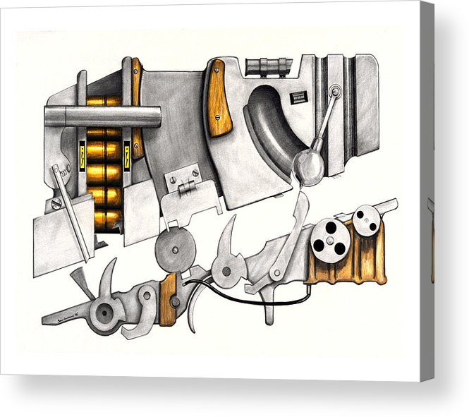 Modern Acrylic Print featuring the drawing Simple Machines Drawing Three by Sean Gautreaux