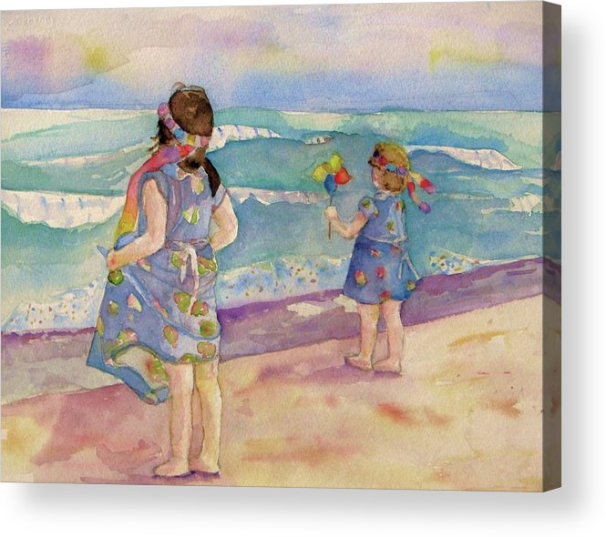 Sisters Acrylic Print featuring the painting Sisters By The Sea by Anne McMath