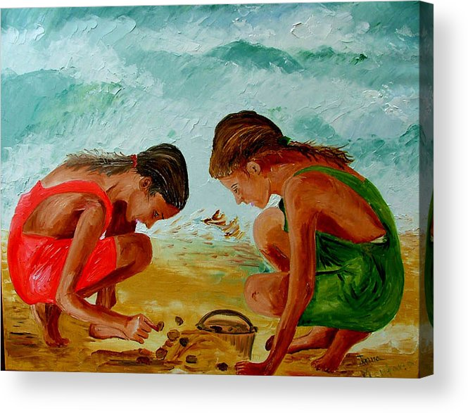 Girls Acrylic Print featuring the painting Sisters On The Beach by Inna Montano