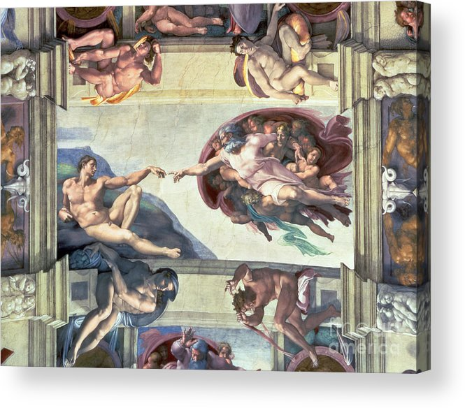 Sistine Acrylic Print featuring the painting Sistine Chapel Ceiling Creation Of Adam by Michelangelo