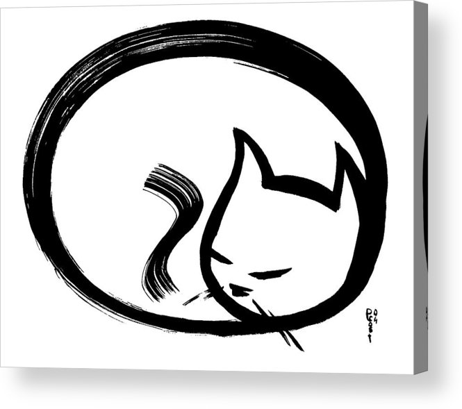 Cats Animals Ink Sumi Calligraphy Japanese Chinese Oriental Acrylic Print featuring the painting Sleeping Cat by Poul Costinsky