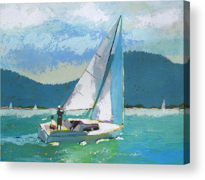 Boat Acrylic Print featuring the painting Smooth Sailing by Robert Bissett