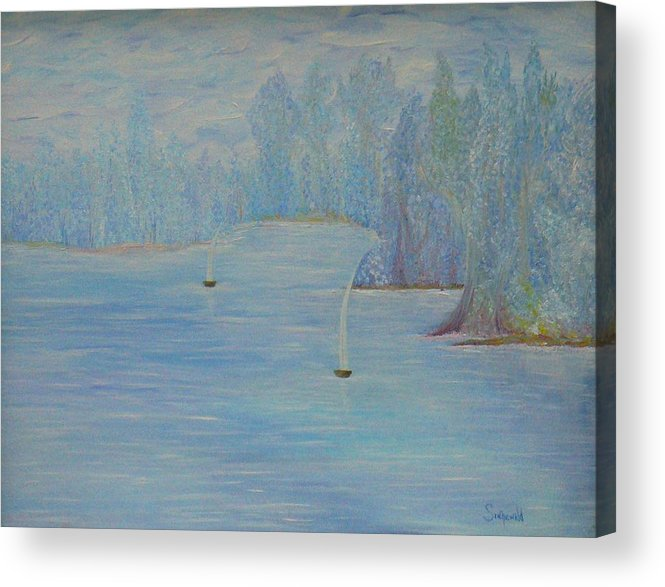 Blue Acrylic Print featuring the painting So Cool by Cary Singewald