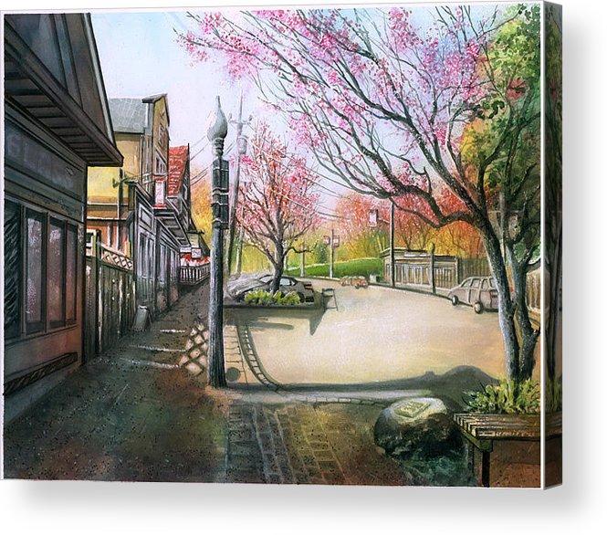 Landscape Acrylic Print featuring the painting Spring On Clarke Street Port Moody by Dumitru Barliga
