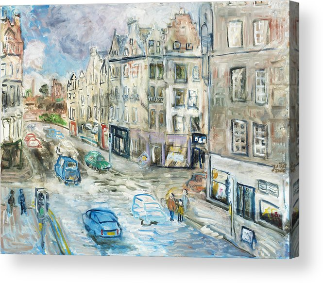 City View Street Edinburgh Scotland Cars People Traffic Pavement Sky Shops Windows Clouds Roofs Acrylic Print featuring the painting St. Mary's Street by Joan De Bot