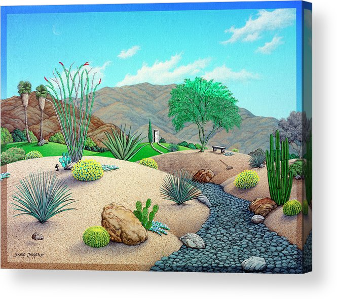 Landscape Acrylic Print featuring the painting Steve's Yard by Snake Jagger