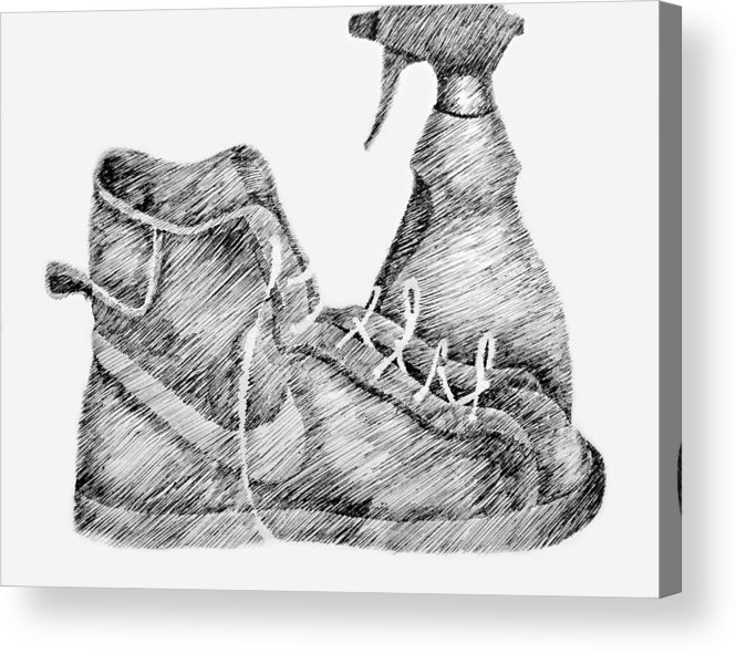 Pen Acrylic Print featuring the drawing Still Life With Shoe And Spray Bottle by Michelle Calkins