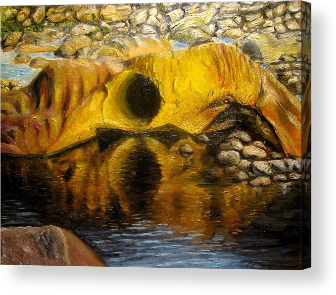 Landscape Acrylic Print featuring the painting Stones Ocoee River In Tennessee Landscape Original Oil Paintings by Natalja Picugina