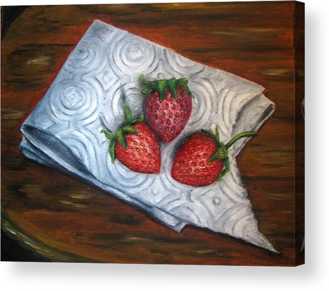 Strawberries Acrylic Print featuring the painting Strawberries-3 Contemporary Oil Painting by Natalja Picugina
