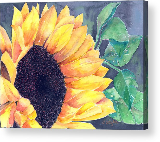 Sunflower Acrylic Print featuring the painting Sunflower by Arline Wagner