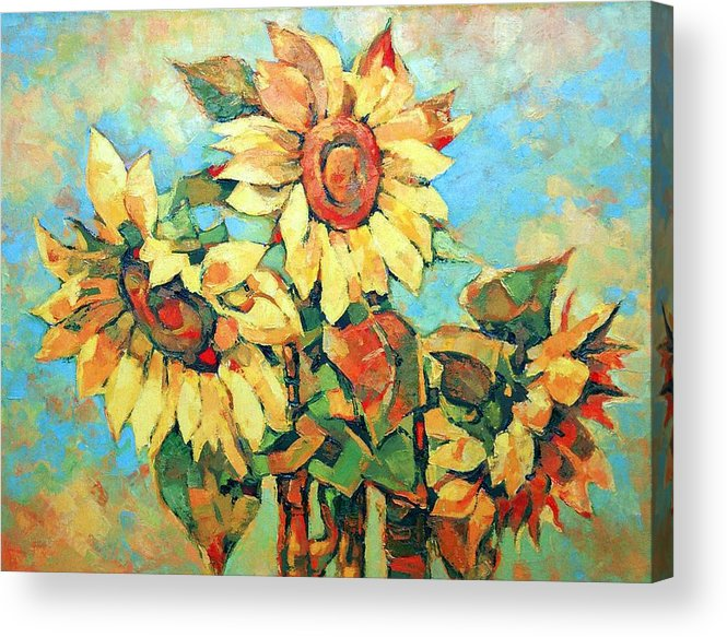 Sunflowers Acrylic Print featuring the painting Sunflowers by Iliyan Bozhanov