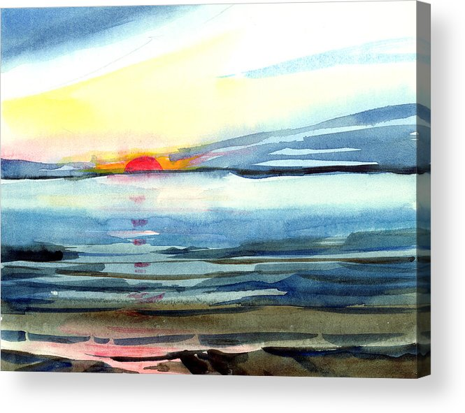 Landscape Seascape Ocean Water Watercolor Sunset Acrylic Print featuring the painting Sunset by Anil Nene