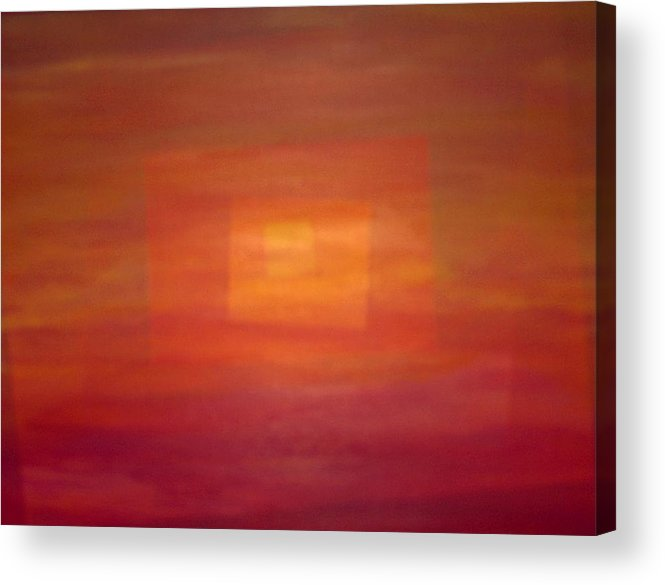 Rectangles Sunset Abstract Bright Acrylic Print featuring the painting Sunset For Sarah by Sally Van Driest