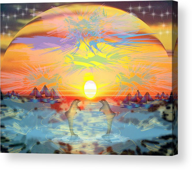 Nature Acrylic Print featuring the digital art Sunset IIi by George Pasini