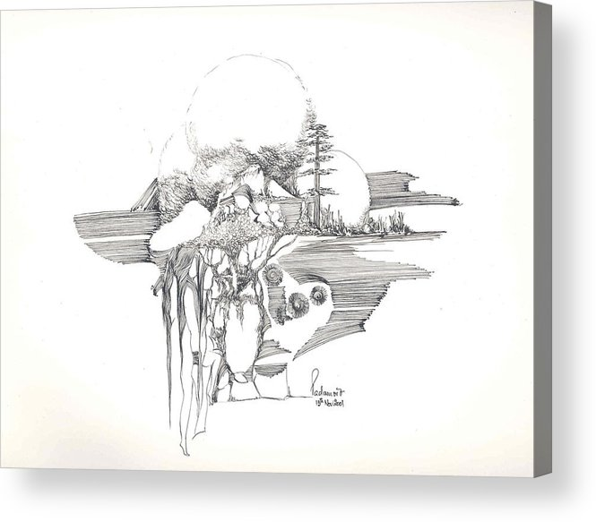 Rocks Acrylic Print featuring the drawing Surrealscape 4 by Padamvir Singh