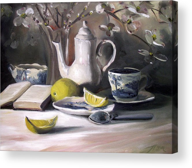 Lemon Acrylic Print featuring the painting Tea With Lemon by Nancy Griswold