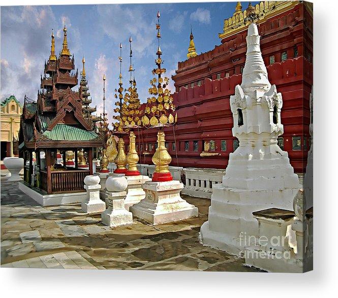 Gabriele Pomykaj Acrylic Print featuring the photograph The Ancient Shwezigon Pagoda - Partial View by Gabriele Pomykaj