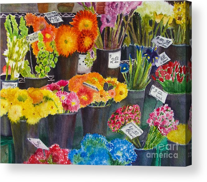 Flowers Acrylic Print featuring the painting The Flower Market by Karen Fleschler