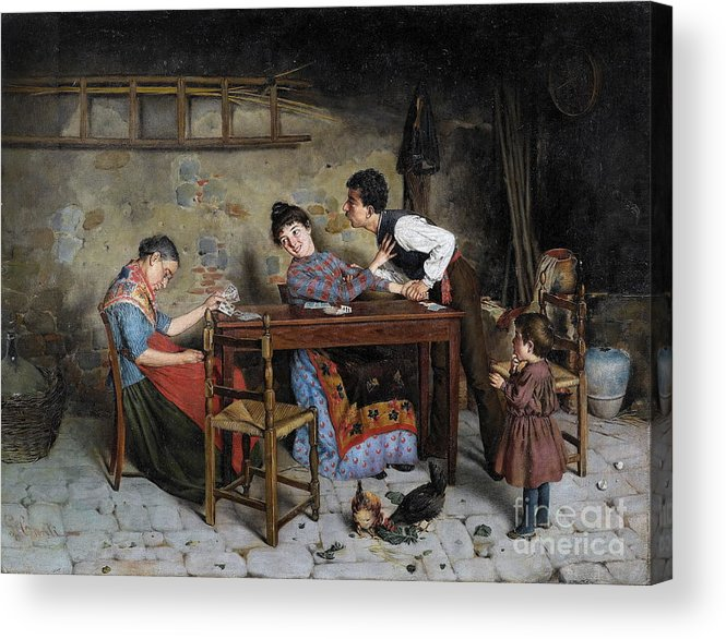 Cosimo Conti (florence 1825-1893) The Grandmother Is Buckled Acrylic Print featuring the painting The Grandmother Is Buckled by Celestial Images