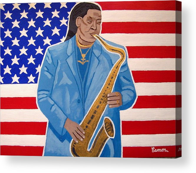 Clarence Clemons Acrylic Print featuring the painting The Late Great Clarence Clemons by Eamon Reilly