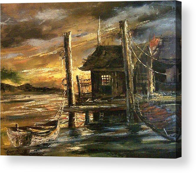 Seascape Acrylic Print featuring the painting The Old Wharf by Don Griffiths