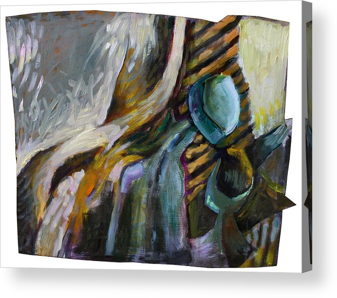 Still Life Acrylic Print featuring the painting The Scarf The Glass And Caraffe by Piotr Antonow