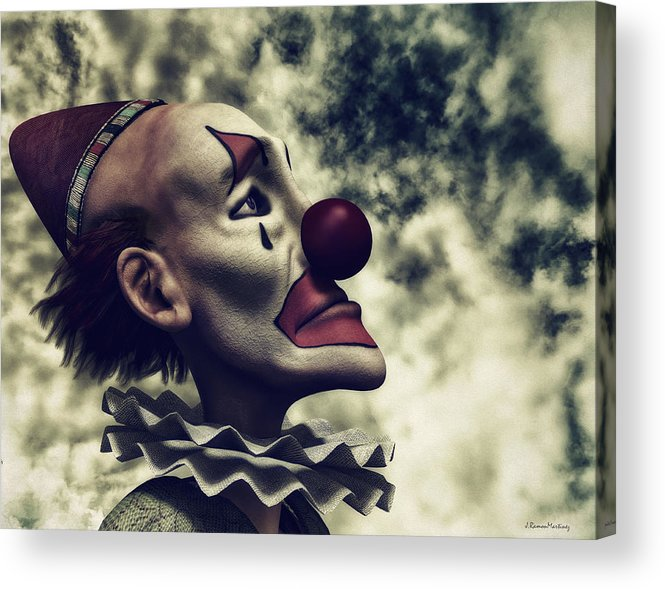 Hdr Acrylic Print featuring the digital art The Understanding Clown by Ramon Martinez