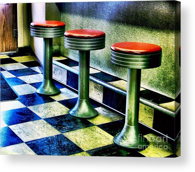 Retro Photography Acrylic Print featuring the photograph Three White Steamer Stools by Julie Dant