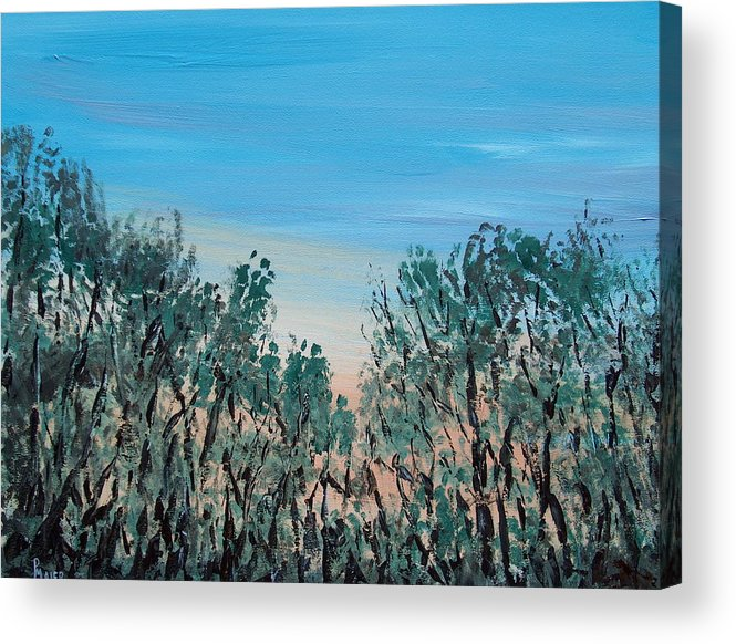 Landscape Acrylic Print featuring the painting Thru The Woods by Pete Maier