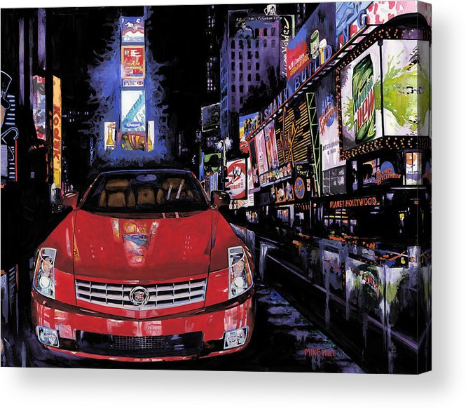 2008 Red Cadillac Caddy Cad Times Square New York City Lights Cityscape Night Mountain Dew Acrylic Print featuring the painting Times Square ....cadillac by Mike Hill