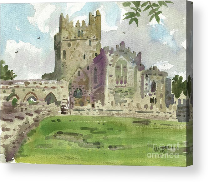 Tintern Acrylic Print featuring the painting Tintern Abbey 1 by Donald Maier