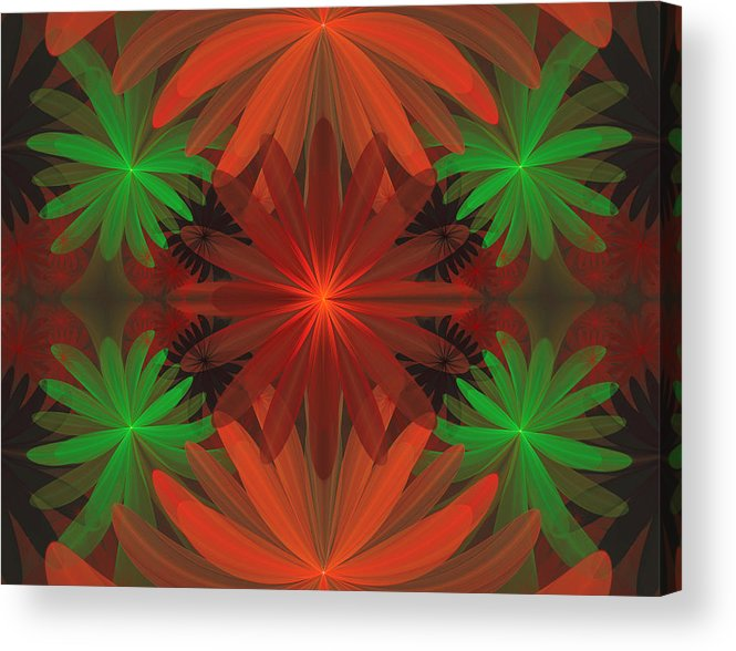 Fractal Acrylic Print featuring the digital art Tropical Flowers by Sandy Keeton