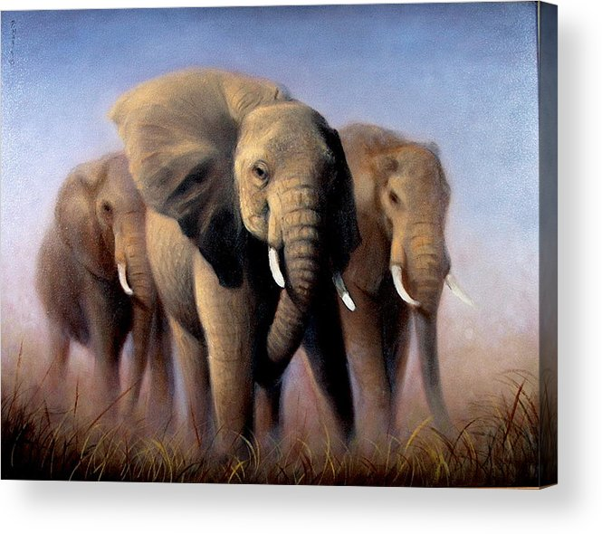 Realism Acrylic Print featuring the painting Tusks by Donelli DiMaria
