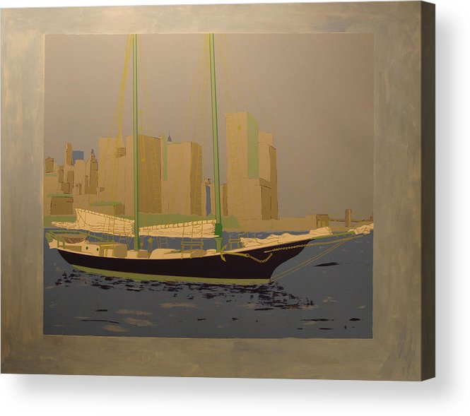 Acrylic Print featuring the painting Two Masts Colored by Biagio Civale